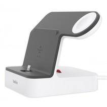 PowerHouse Charge Dock v. Apple Watch en iPhone, wit