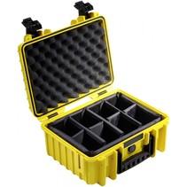 B&W Outdoor Case Type 3000 geel met compartimenten