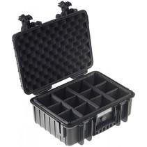 B&W Outdoor Case Type 4000 zwart met compartimenten