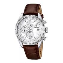 chronograaf heren horloge met lederen band