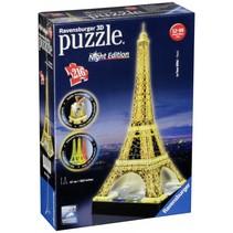 3d puzzel-gebouw eiffeltoren bij nacht