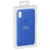 iphone x lederen case electric blue