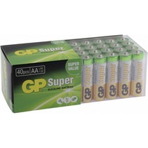 1x40 gp super alkaline aa mignon batterijen pet box 03015ab40