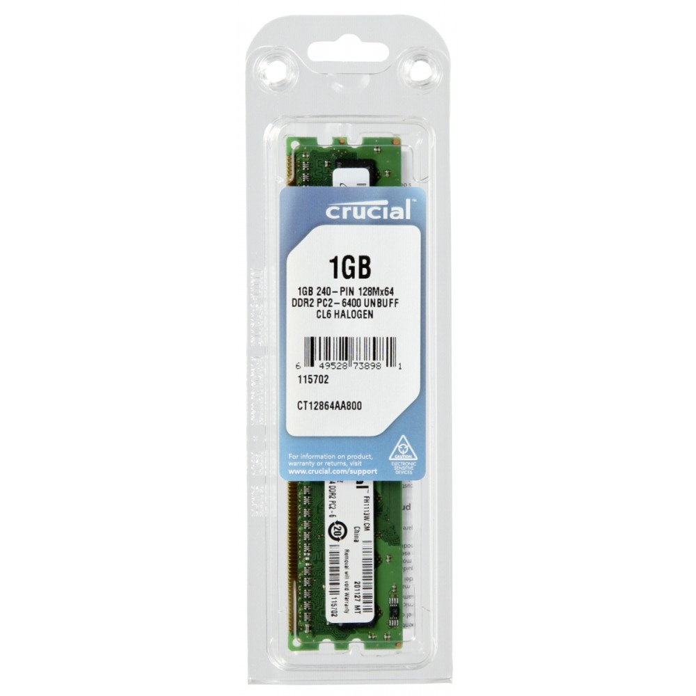 Crucial 1gb ddr2 800mhz pc2-6400 / udimm 240pin / cl6