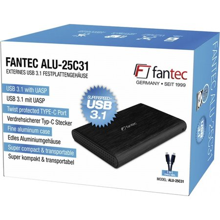 Fantec alu-25c31 zwart 2,5 usb 3.1 typ-c