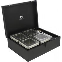 teebox zwart met 4 theeblikken & maatlepel 184005