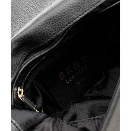 DKNY Elissa Schoudertas gegreineerd rundleer zwart R923HC81 BLACK/GOLD