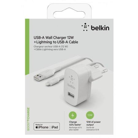 Belkin oplader usb-a 12w 1m lightn.kab. wit wca002vf1mwh