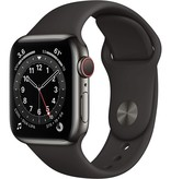 Apple watch series 6 gps + cell 40mm gra. steel black sport band