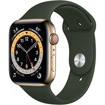 watch series 6 gps + cell 44mm gold steel green sport band