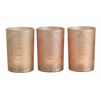 J-Line Theelichthouder glas rosé 12x12x18 cm