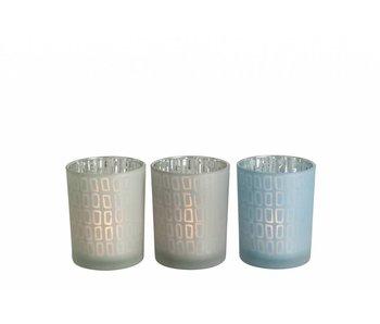 J-Line Theelichthouder glas grijs, groen of blauw | 13 cm