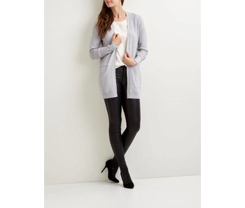 VILA Viril L/S open knit cardigan - light grey - XL