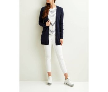 VILA Viril L/S open knit cardigan - dark blue - XL