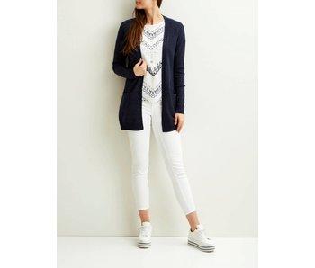 VILA Viril L/S open knit cardigan - dark blue - medium