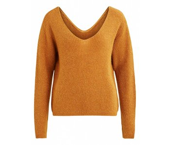VILA Viwondi knit L/S V-neck top C2 - cognac - XS