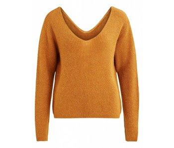 VILA Copy of Viwondi knit L/S V-neck top C2 - cognac - small