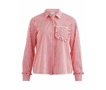 VILA Vimelava L/S shirt - red/white - 38