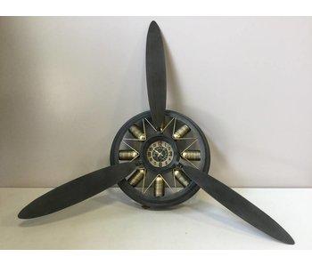 """Horloge murale en métal """"propellor"""" dia 65x14 cm noir / argent"""