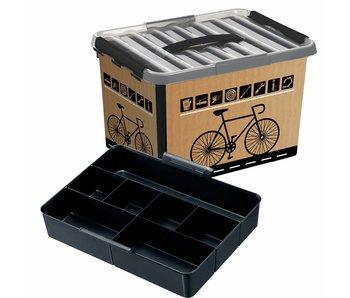 Qline Boîte de vélo 22L noir - transparent