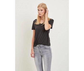 VILA VINOEL S/S V-NECK T-SHIRT - black - small