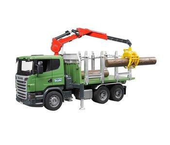 Bruder Scania transport de bois avec grue, benne et tronc d'arbre