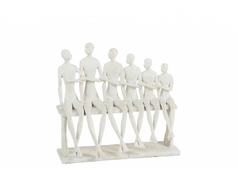 J-Line 6 personen op een bank wit (26x13x24cm)