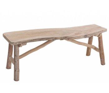 J-Line Banc en bois naturel brut 103x30x37cm