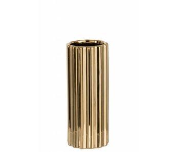 J-Line Vase en céramique doré ligné S (12x12x28cm)