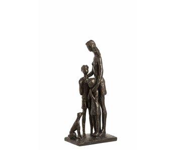 J-Line Mère avec enfant poly brun foncé 13,5 x 30,5 cm
