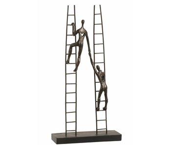 J-Line Statue 2 Personnages Sur Escalier Resine Marron Foncé