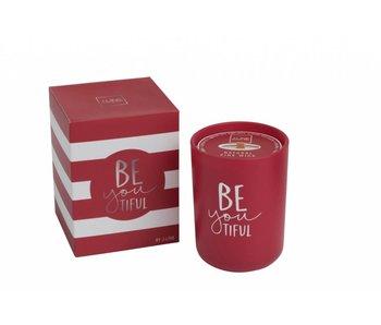 J-Line Bougie parfumée beautiful rouge 9x9x12cm