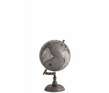 J-Line Wereldbol Op Voet Hout Blinkend Grijs Medium