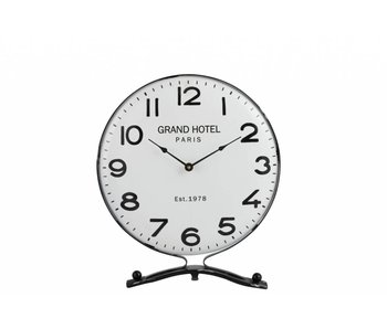 J-Line Horloge Sur Pied Metal Blanc