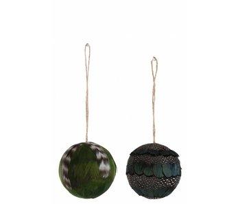 J-Line Boule avec plumes L vertes/noires