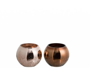 J-Line Bougeoir 1/2 bronze (12x12x10cm)