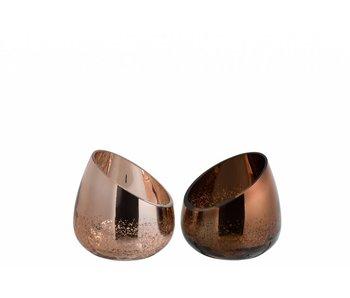 J-Line Bougeoir 1/2 bronze(13x13x13cm)