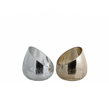 J-Line Bougeoir 1/2 argent (13x13x13cm)