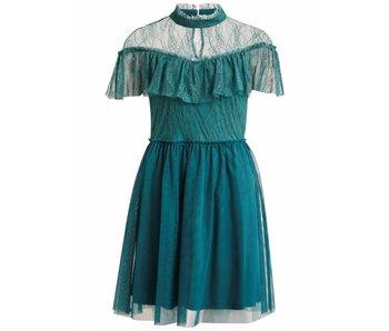 VILA Vilasia jurk met kant | blauw | Extra large