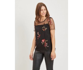 VILA Viperno S/S embroidery top - 36