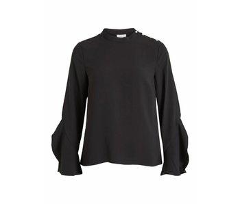 VILA Visarina blouse | zwart | L/S pearl top | 36