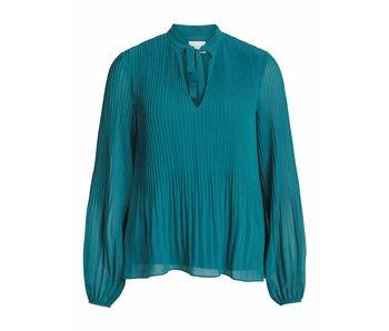 VILA Vislet L/S plisse top - blue - 36