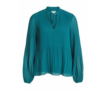 VILA Vislet L/S plisse top - blue - 42