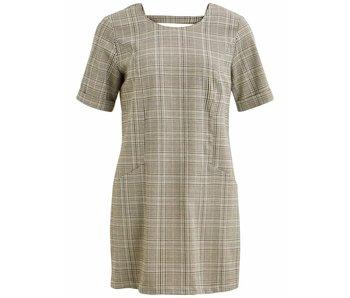 VILA Vidrola korte jurk | Beige geruit | 34