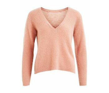 VILA Viella knit lace detail L/S top - XL