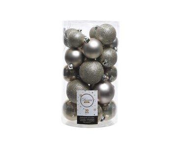 30 boules de Noël gris