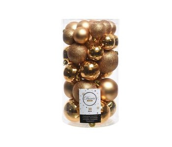 Koker mix 30 ballen messing goud