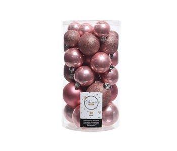 30 boules de Noël rose