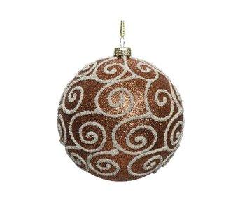 Kerstbal 80mm onbreekbaar glitter krul roestbruin