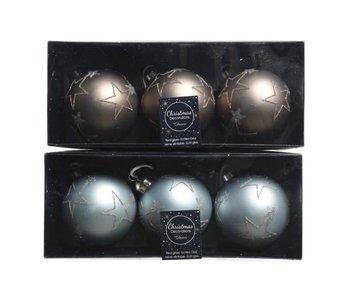 Kerstbal 80mm glas ster 2 ass. s/3